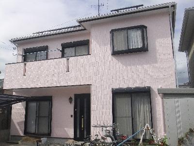 ピンク外壁塗装後1